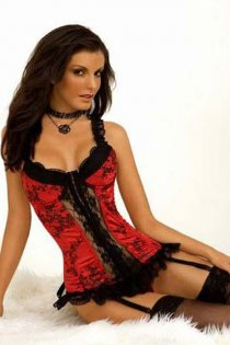 Soft Red Corset With Black Floral Print, Sheer Lace Front Panel and Trim, Ruffled Straps and Front Zipper
