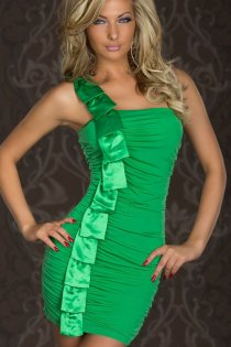 Green Strapless Bodycon Clubwear Mini Dress With Full-Length Ruffled Satin Detailing