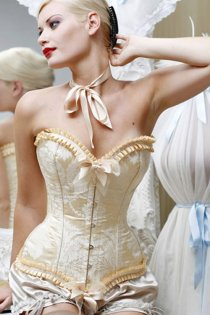 Absolute Burlesque Cream Corset With Brocade Pattern, Honey Ruched Trim and Bows, Front Busk