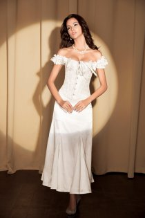 White Steel Boned Corset Top With Brocade Pattern, Ruched Satin Sleeves and Ribbon Bows, Front Busk