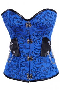 Bright Blue Lace Corset With Black PU Trim, Silver Clasps and Draped Silver Chains