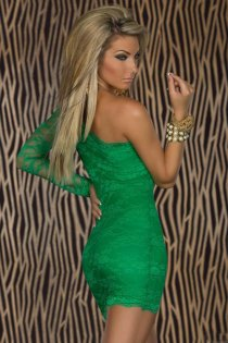 Emerald Green One-Shoulder Lace Bodycon Clubwear Mini Dress With Sexy Semi-Sheer Arm