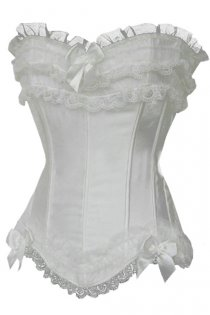 Confection White Satin Corset With Generous Ruched Lace and Tulle Trim With Bows