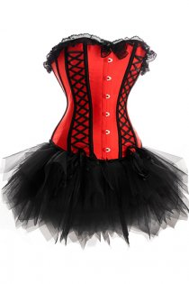 Red Sateen Strapless Corset Dress With Black Detailing and Tutu Net Mini Skirt