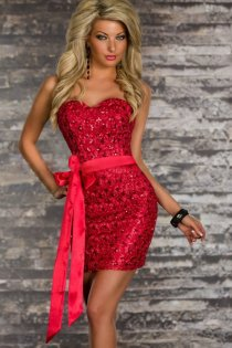 Red Strapless Club Dress With Heart-cut Bust, Pale Red Bow Belt, and Red Sequin Accents