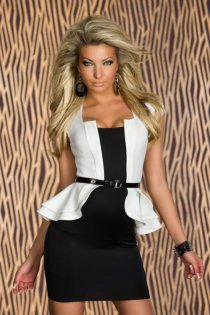 Black Mini Club Dress With Attached White Cap Sleeve Ruffled Jacket and Thin Black Vinyl Belt