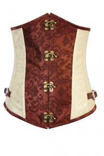 Cream and Brown Underbust Corset With Floral Print, Buckle Accents, Latch Hook Front, and Laced Back