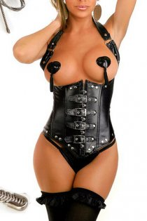 Fetish Black Faux-Leather Corset With Halter Straps, Buckles Over Front Zipper and Studs