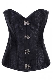Black Satin Boned Corset With Floral Print, Silver Hook Front Closures, and Black Shoestring Lace-up Back