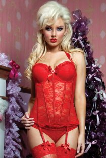 Oriental Red Lace Bustierr With Light Boning and Ruffle Borders