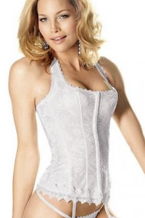 White Halter Style Overbust Bridal Corset With Floral Pattern and Lace Trim