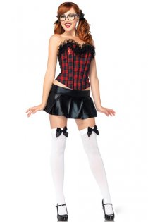 Sexy Schoolgirl Costume with Cute Plaid Corset, Mini Skirt & Letter A Accent