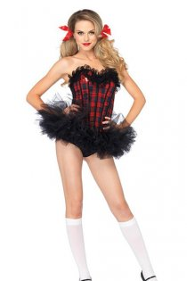 Seductive Schoolgirl Costume with Tulle Skirt & Plaid Corset with Letter A Accent