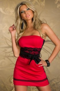 Exquisitely Crafted Red & Black Club Dress with Lace Panel and Matching Belt