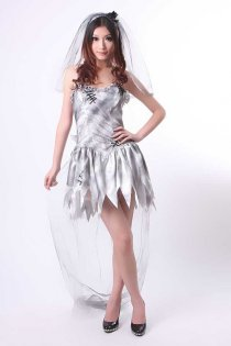 Fancy Zombie Bride Wedding Costume Dress