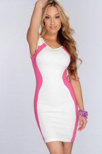 Stylish Candy Colored Body-con Club Dress