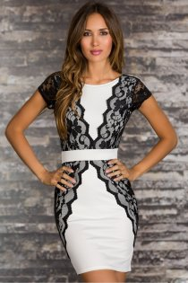 Elegant Sheath Style White Club Dress with Lacy Overlay