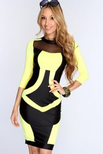 Sexy Black and Yellow Club Dress with Mesh Neckline