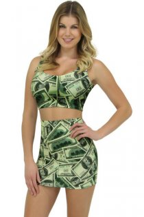 Sultry Form Fitting  Sleeveless  Money Costume Top and Skirt Outfit Set