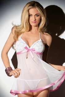 Revealling Halter Chemise with Lacy Cups and Front Ribbon Bow Tie