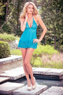 Enticing Mesh Babydoll with Lacy Hem and Cups, Back Triangle Panel
