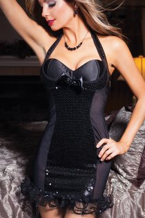 Brilliant Halter Chemise with Open Back and Mesh Sides