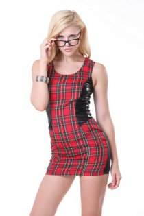 Super Cool Solid Plaid Jumper Style Dress with Leatherette Accents