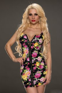 Interesting Floral Mii Dress with Total Zipper Opening and Deep V-neckline