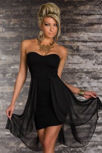 Classy Ethereal Sleeveless Black Colored High-low Dress