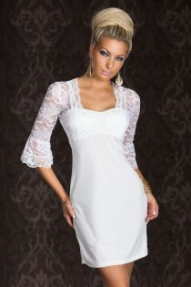 Interesting White Colored Mini Dress With Astonishing Embroidered Corset