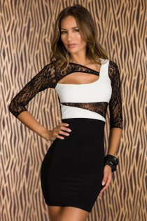 Cute Attractive 3/4 Sleeves and Fancy Embroidered Black&White Short Dress