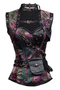 Exquisite Purple Steampunk High Neck Corset With Back Lace-up and Jacket