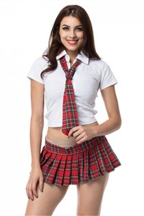 Sexy School Girl Costumes With White Blouse and Plaid Tutu