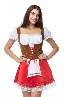 Red Oktoberfest Party Canival Costume Sexy German Bavarian Costumes Beer Maid Outfits