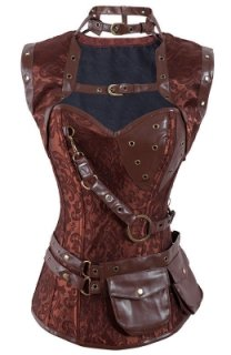 All Buckled Up Leather Corset With Printed Satin, Gold Detailing and Pockets