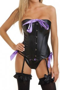 Sexy Purple Bow Leather Corset