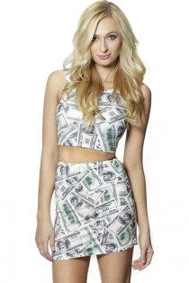 Charming Lady Dollar Pattern Sleeveless Garment With Matching Skirt