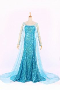 Elsa (Frozen) Mysterious Ocean Blue Costume Dress with Full Sleeves
