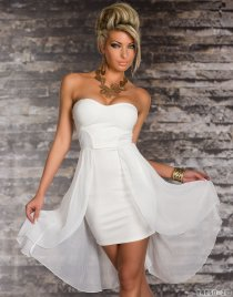Shiny Ethereal Sleeveless White Colored High-low Dress