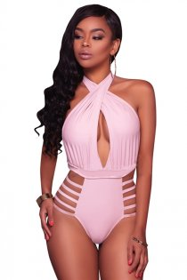 Pink Halter One Piece Swimsuit Bikini