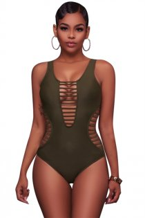 Sexy solid green striped hollow one-piece swimsuit bikini
