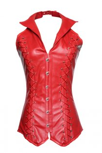 Red 16 Steel Boned Leather Overbust Corset with Windbreaker Collar, Lace-up Back