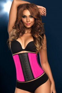 Rose Pink Sport Latex Rubber Steel Boned Waist Trainer Cincher Underbust Corset