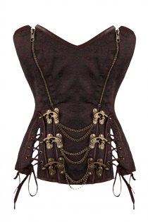 10 Steel Boned Plus Size Brocade Corset Top Gothic Steampunk Corsets