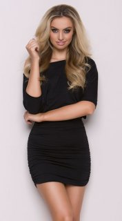 Elegant Black Mini Dress with Off Shoulder Design