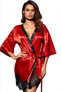 Red Silk Robe With Lace Trim Bottom