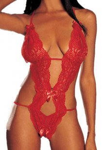 Sexy Red Floral Lace Teddy With Halter Neck, Strappy Open Back, G-string and Satin Bows