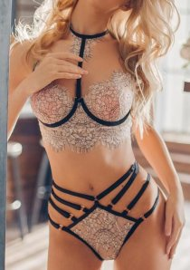 Criss Cross Ladder Cut-Out Lingerie Set