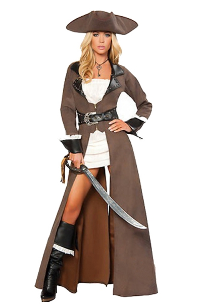 Alluring Pirate Charmer Soft Brown Long Gown Longsleeve Black Edges Pattern Belt Partly Covering White Tight Mini Dress