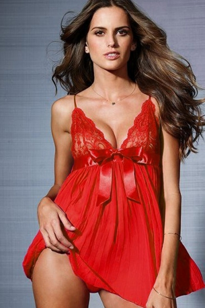 Classic Fiery Red Babydoll With Lacy Bust, Pleated Bodice and Satin Ribbon Empire Waist